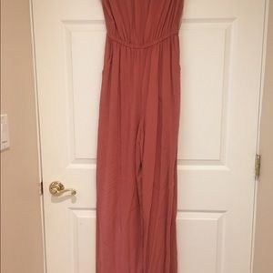 Forever 21 Pants - Strapless light apricot maxi jumpsuit